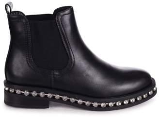 Linzi Layna - Black Nappa Pull On Chelsea Boot With Diamante Trim Around Sole