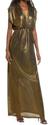 Fraiche by J Shimmer Deep V-Neck Gown