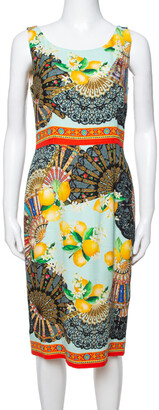 Dolce & Gabbana Multicolor Lemon Print Silk Crepe Sheath Dress M