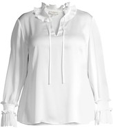 Thumbnail for your product : Lafayette 148 New York, Plus Size Roan Ruffle Trim Blouse