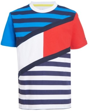 Tommy Hilfiger Little Boys Tom Color Blocked Stripe Logo T-shirt