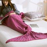 MZPRIDE Mermaid Blanket Pattern Mermaid Crochet Blanket 31''71'' (Rose Red)