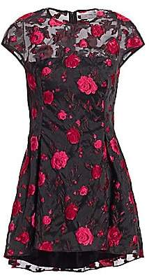 Lela Rose Women's Cap Sleeve Rose Peplum Top