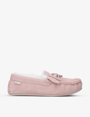 Barbour Sadie faux-shearling lined suede slippers