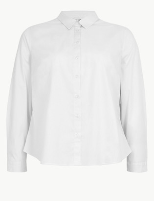 Marks and Spencer CURVE Cotton Rich Fitted Long Sleeve Shirt