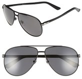 Gucci Men's 61Mm Polarized Aviator Sunglasses - Matte Black/ Grey