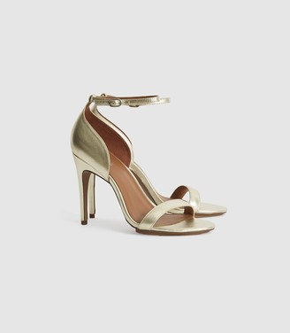 Reiss Paula - Leather Strappy Sandals in GOLD
