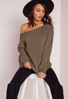Missguided Off Shoulder Sweater Taupe