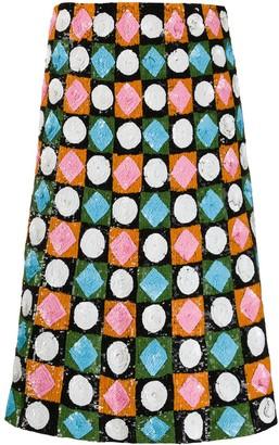 La DoubleJ sequinned geometric-pattern skirt