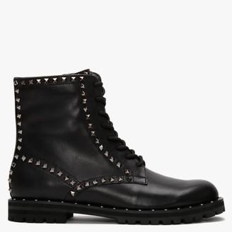 Daniel Elise Black Leather Studded Ankle Boots