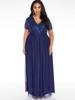 Quiz Curve V Neck Sequin Tulle Bridesmaid Maxi Dress - Navy