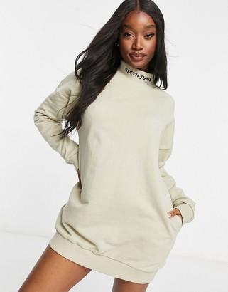 Sixth June oversized high-neck sweatshirt dress with logo detail