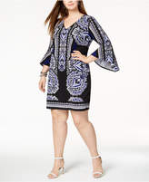 INC International Concepts I.n.c. Plus Size Flared-Cuff Shift Dress, Created for Macy's
