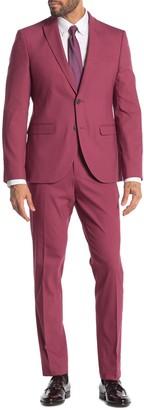 Nordstrom Rack Solid Two Button Peak Lapel Extra Trim Fit Suit
