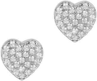 Diamonique 0.25 cttw Heart Stud Earrings, Sterling Silver