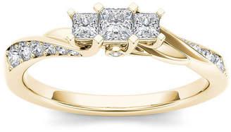 MODERN BRIDE 1/2 CT. T.W. Diamond 10K Yellow Gold 3-Stone Engagement Ring