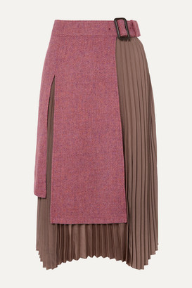 ANDERSSON BELL Layered Wool-tweed And Pleated Satin Midi Skirt - Pink