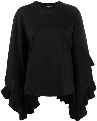 DSQUARED2 Asymmetric Flared Sleeve Top