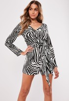 Missguided Tiger Print Long Sleeve Playsuit