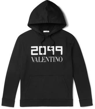 Valentino Logo-Print Loopback Cotton-Blend Jersey Hoodie
