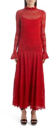 Alexander McQueen Lace Pointelle Long Sleeve Maxi Sweater Dress