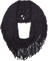 Yumi Black Chunky Knitted Fringe Snood