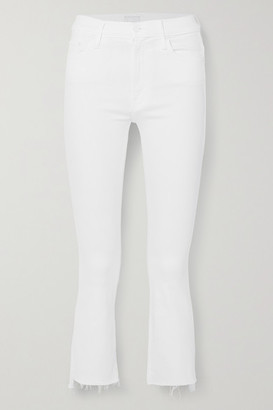 Mother The Insider Crop Distressed High-rise Flared Jeans - White