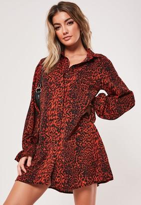 Missguided Orange Leopard Print Frill Cuff Shirt Dress