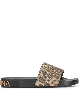 Dolce & Gabbana Leopard-Print Logo Slides