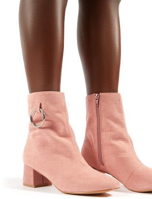 Public Desire Uk Aruba Low Heel Ring Detail Ankle Boots in Blush Faux Suede