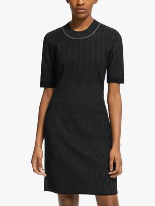 Club Monaco Slim Plaited Dress, Charcoal