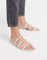 Public Desire Cosmic studded flat jelly sandals in white