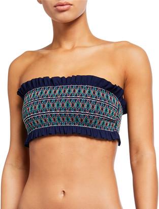 Tory Burch Costa Smocked Bandeau Bikini Top