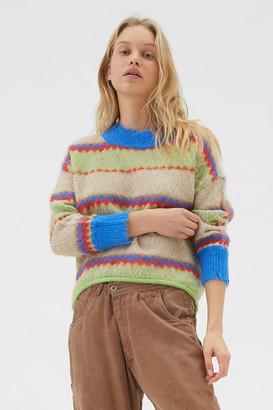 Urban Outfitters Garnet Fuzzy Fair Isle Sweater