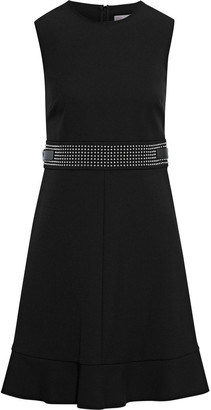 RED Valentino Buckle-detailed Studded Crepe Mini Dress