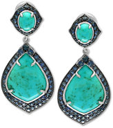 Effy Manufactured Turquoise (13-1/5 ct. t.w.) and Sapphire (3-5/8 ct. t.w.) Drop Earrings in Sterling Silver