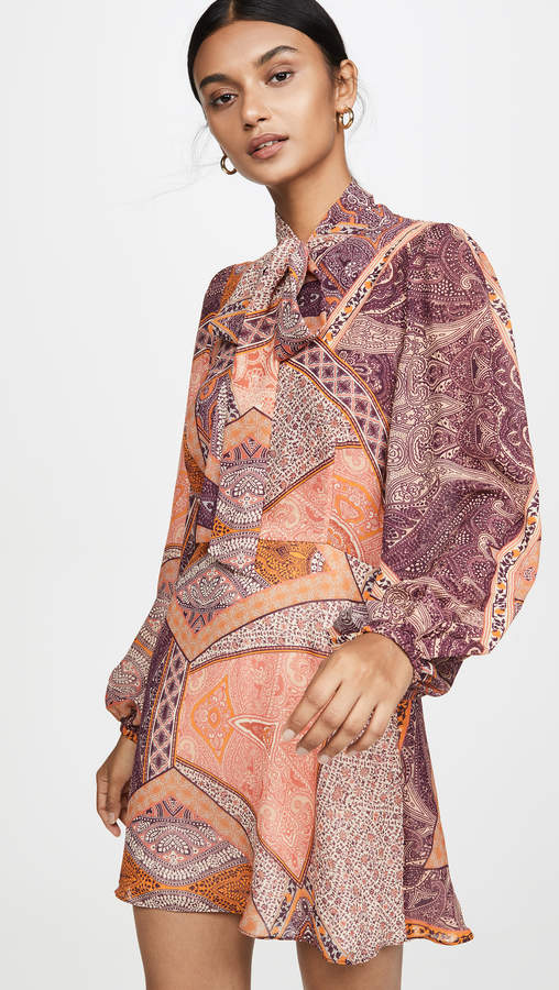Divine Heritage Pussy Bow Long Sleeve Mini Dress