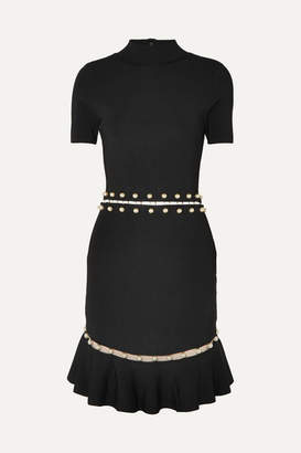 Alice + Olivia Alice Olivia - Evelyn Embellished Cutout Stretch-knit Dress - Black