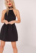 Missguided Petite Square Neck Skater Dress Black