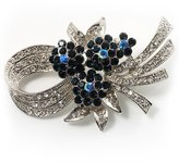 Avalaya Stunning Bow Corasge Crystal Brooch (Clear&Navy )