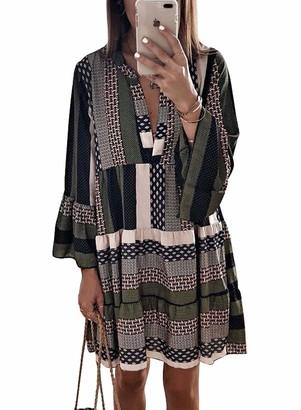CORAFRITZ Women's Leopard Animal Print Ladies Ruffle Long Sleeve Mini Dress Top A Line Swing Tunic Dress