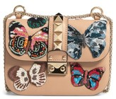 Valentino Small Lock Beaded Butterfly Leather Shoulder Bag - Brown