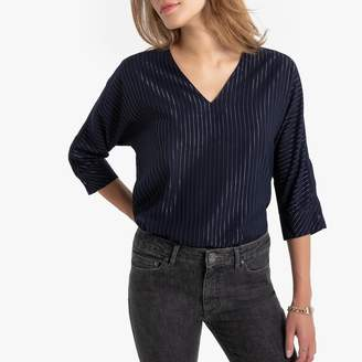 Only Metallic Striped Blouse with V-Neck and Long Sleeves