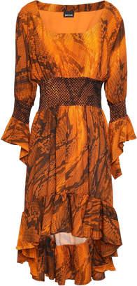 Just Cavalli Asymmetric Smocked Snake-print Crepe Dress