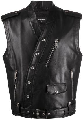 DSQUARED2 Collarless Sleeveless Biker Jacket