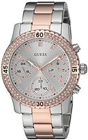 GUESS Women's U0851L3 Sporty Silver-Tone Watch with Silver Dial , Crystal-Accented Bezel and Stainless Steel Pilot Buckle