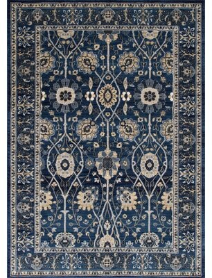 Blue Area Astoria Grand Woodson Floral Thunder Rug Astoria Grand
