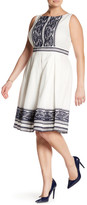 Taylor Embroidered Cotton Voile Fit & Flare Dress (Plus Size)