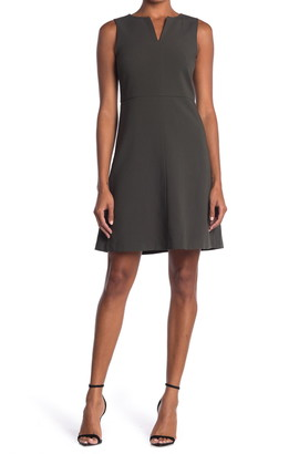 T Tahari Split Neck Sleeveless Fit & Flare Dress