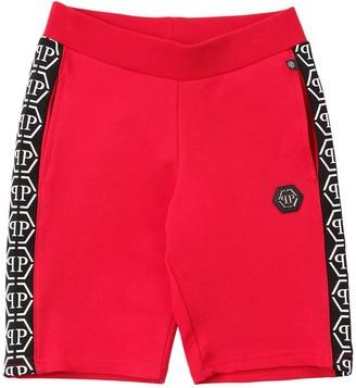 Philipp Plein Junior Cotton Sweat Shorts W/ Logo Bands